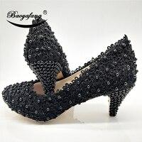 BaoYaFang New Royal Blue Lace Wedding shoes Woman 6cm heel ladies Pumps party dress shoes Bride fashion shoes big size 43 46