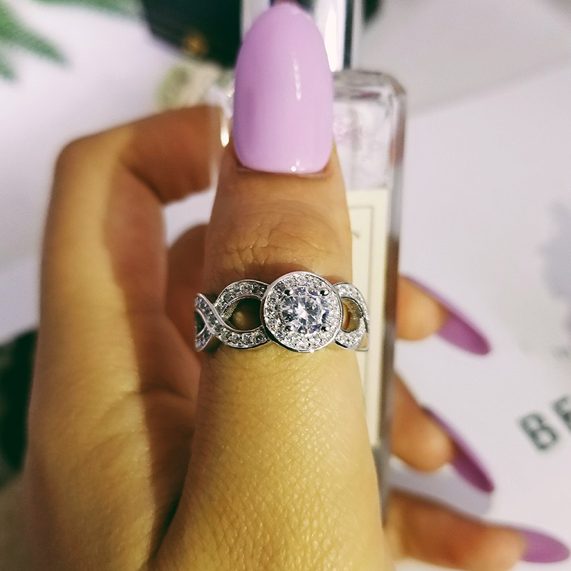 Genuine 925 sterling Silver Ring Finger CZ for Women Jewelry Pure Wedding Engagement Drop shipping Wholesale LR1407S