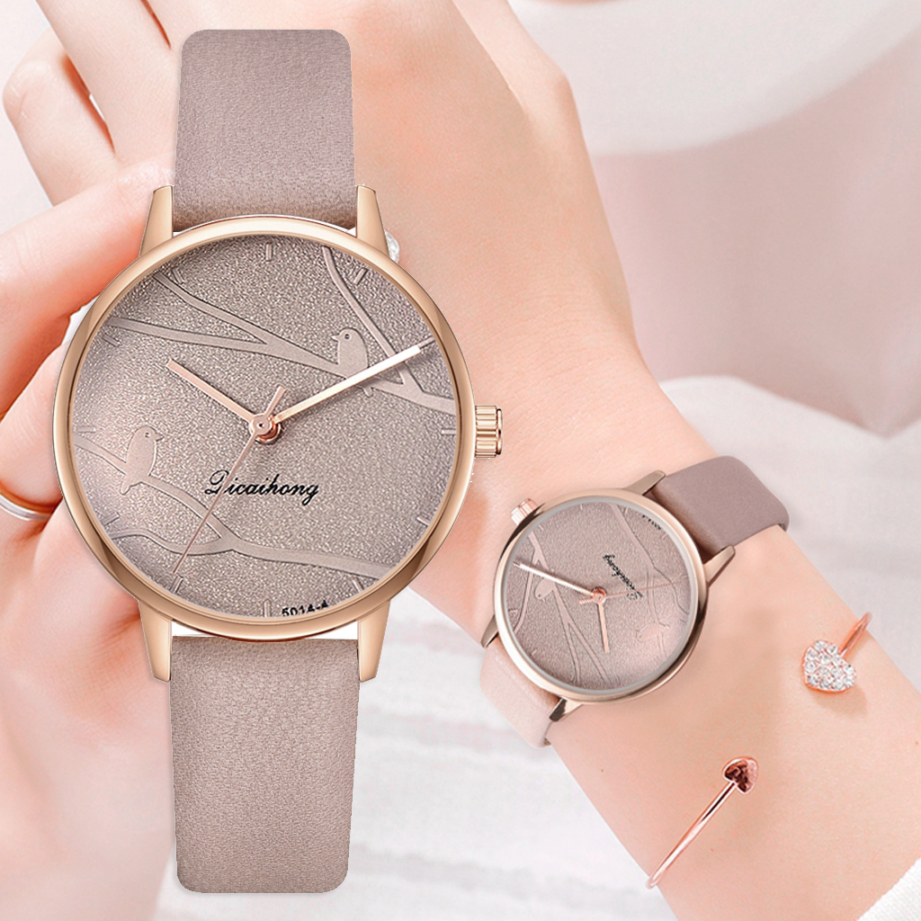 Fashion Women Sweet Watches Fashion Dress Ladies Watch Elegant Bird Leather Strap Quartz Wristwatch Clock Women Exquisite Watch