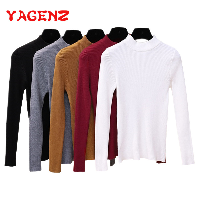 YAGENZ Tight Sweater Pullovers Knitted-Top O-Neck Long-Sleeve Autumn Women And Thin Slim