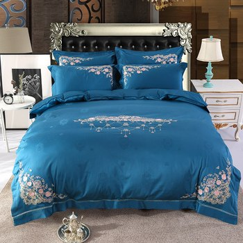 New Elegant embroidery Bedding Set cotton Linen Soft Duvet Cover Pillowcase Bed Sheet Queen king size
