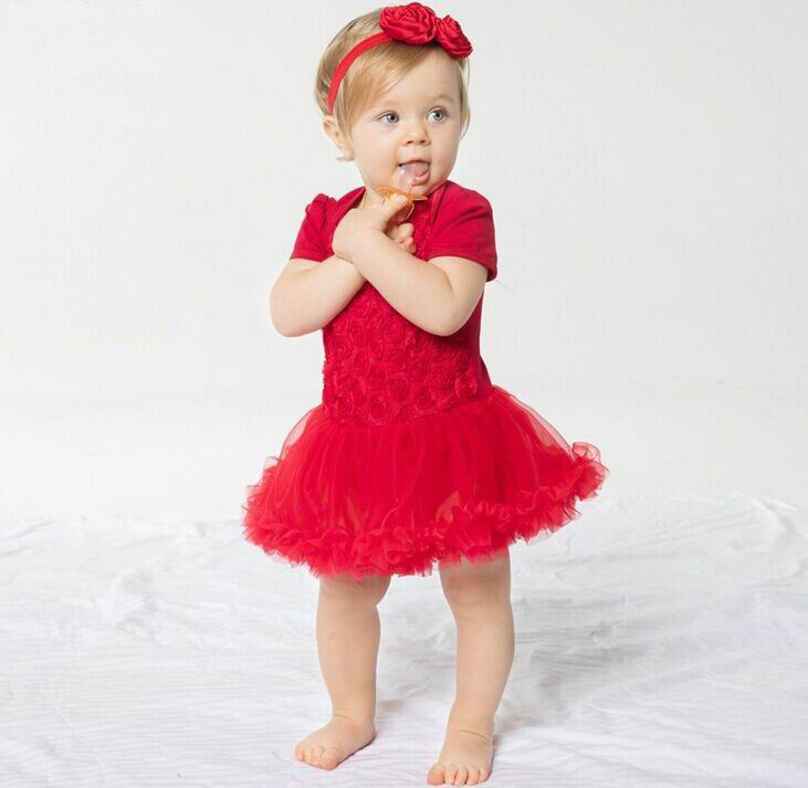 2017 Summer New Newborn Baby Girl Dress Rose Flower Princess Lace Romper With Headband Toddler Clothing 0-2Y 17002