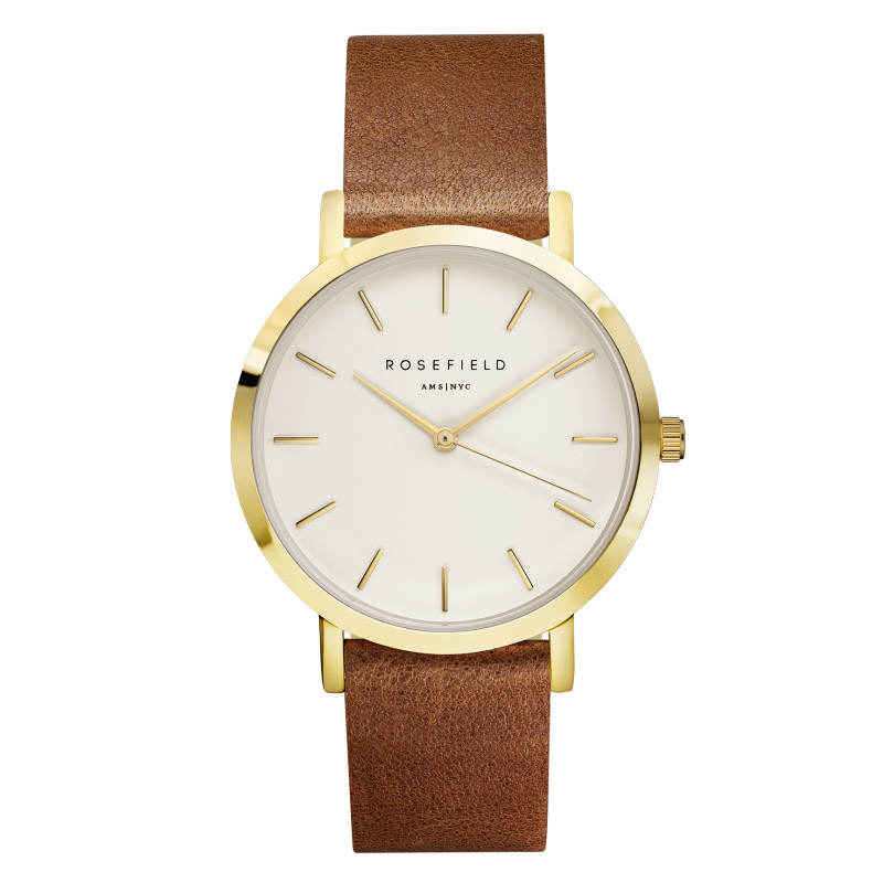 Ladies Ultra-Thin Watch - gold - brown leather strap