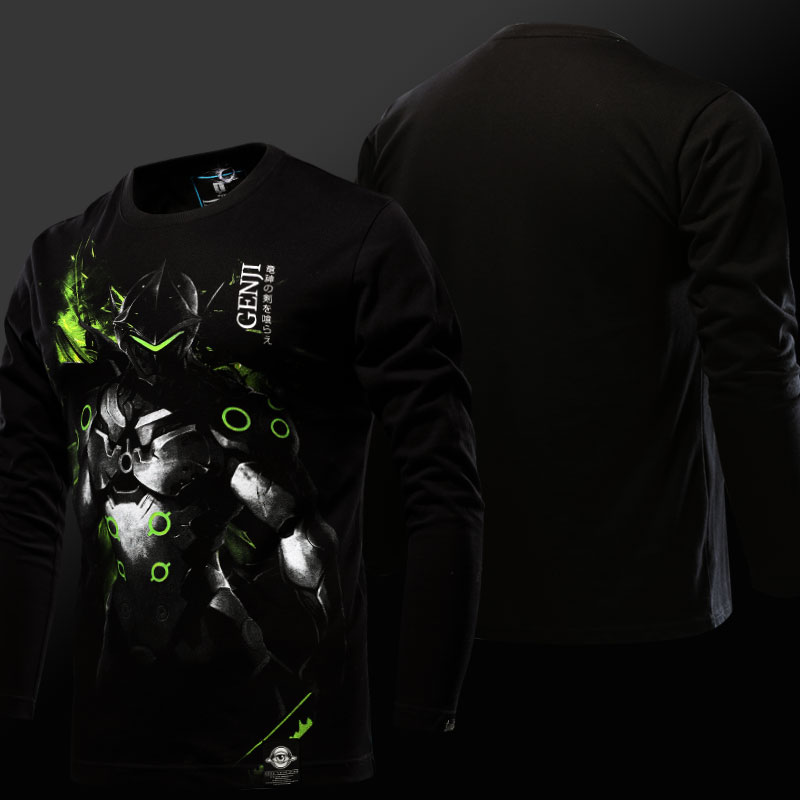 Limited Editon Luminous OW Genji Tshirt Long sleeve OW Hero Tee shirt Men 3XL
