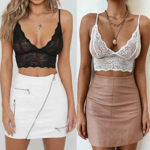 Sexy Women Crop Tops 2019 Summer Black White Sleeveless Lace Perspective Deep V Neck Tank Tops Vest Erotic Tops Costumes