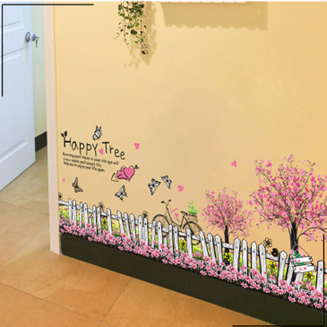 1pcs Fairy Garden Flower Fence Skirting Line Wall Stickers Decals Living Room Bedroom Lobby Corridor Home
