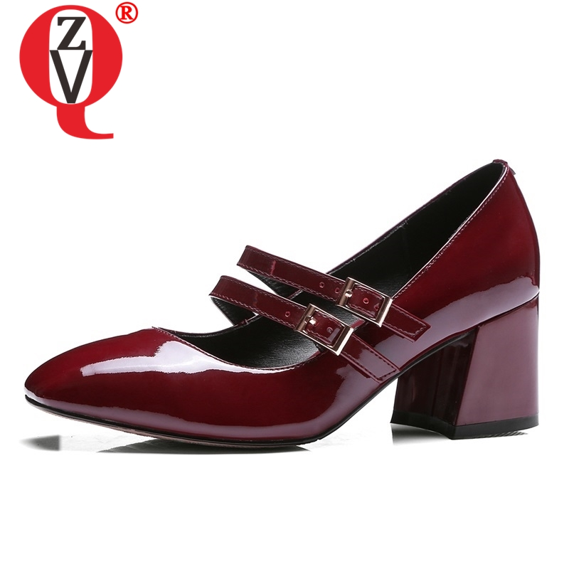 ZVQ hot sale women pumps spring new fashion patent leather shoes women high hoof heels buckle