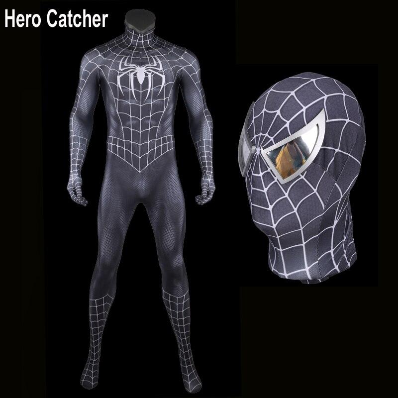 Hero Catcher High Quality Black Spiderman Costume Raimi Spiderman Suit In Black 3D Print Black Raimi