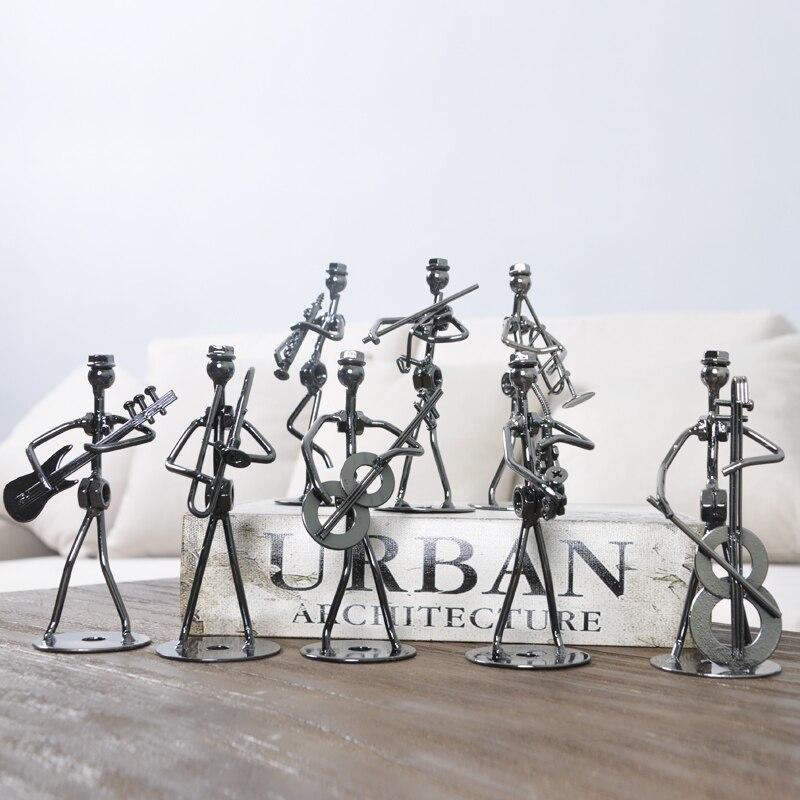 Ensemble de 8 pièces Mini Bande Sculpture Instrument de Musique Figurine Ornement Statuel Music Man Figurines Fer Basse Guitare Music Man - 3