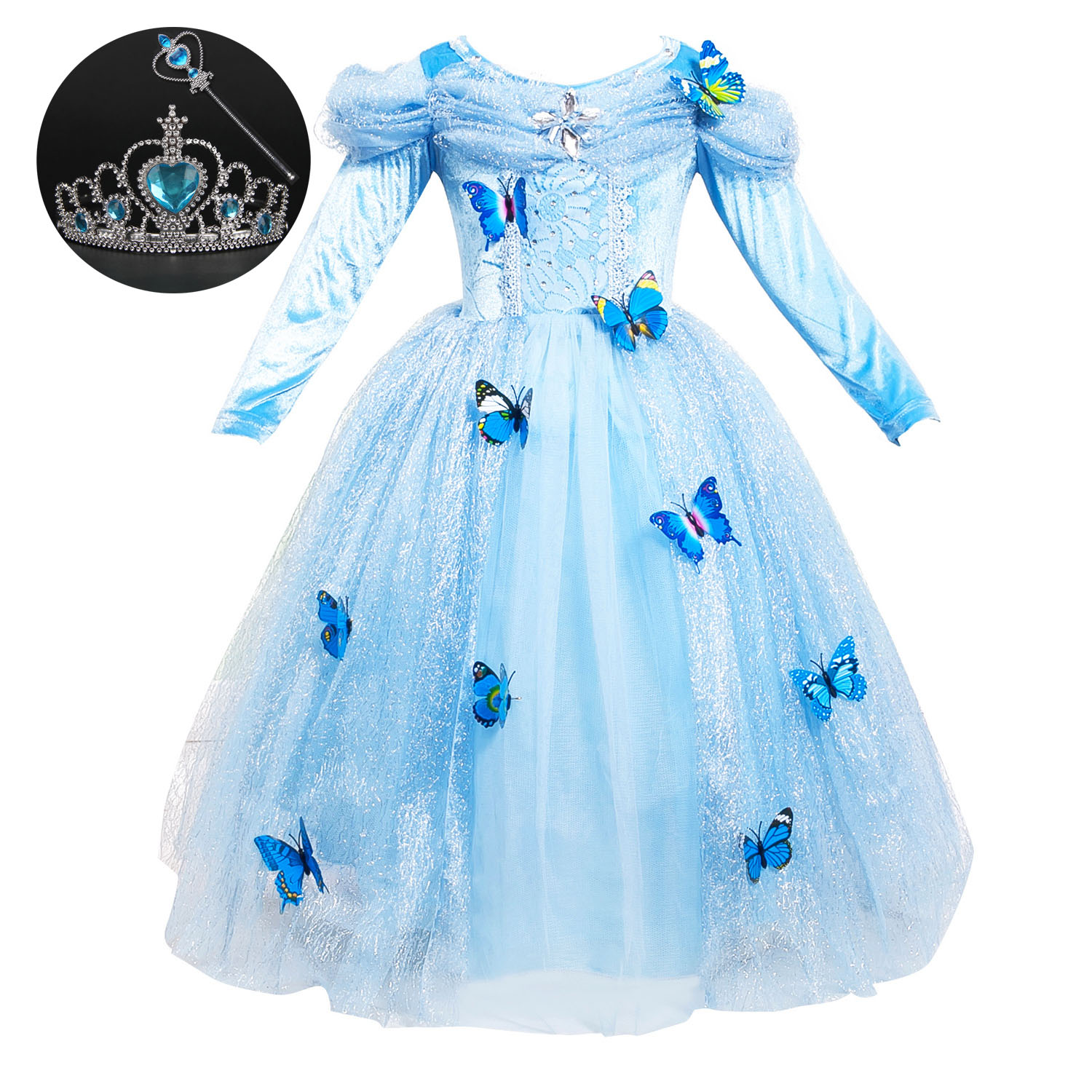 2017 Fashion Long Sleeve Kids Carnival Princess Bell Beauty and The Beast Ball Gown Cosplay Halloween Cute Costume for Girl new 2016 kids girl beauty and beast cosplay carnival costume kids belle princess dress for christmas halloween fantasia infantil