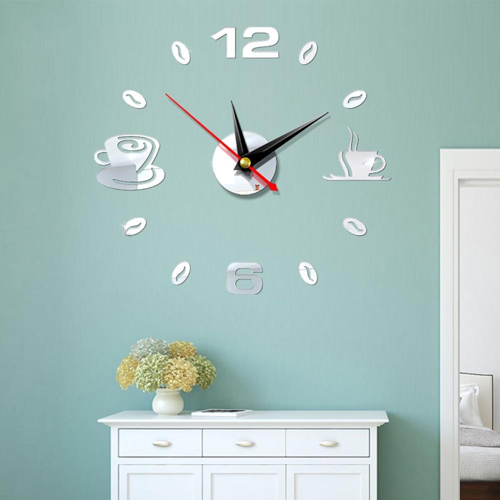 Self Adhesive Kitchen 3D Analog Home Waterproof Wall Clock Art DIY Mute Modern Mirror Coffee Cups Decor Acrylic 3
