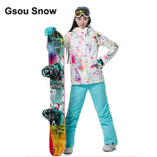Gsou Snow Thermal Women white colorful Graffiti Ski Suit Waterproof Snowboard Jacket Winter warm suit Sport