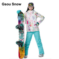 Gsou Snow Thermal Women White Colorful Graffiti Ski Suit Waterproof Snowboard Jacket Winter Warm Suit Sport