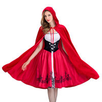 Little Red Riding Hood Costume for Women Fancy Adult Halloween Cosplay Dress+Cloak 2018 Fashion Halloween Party Outfit New S XL
