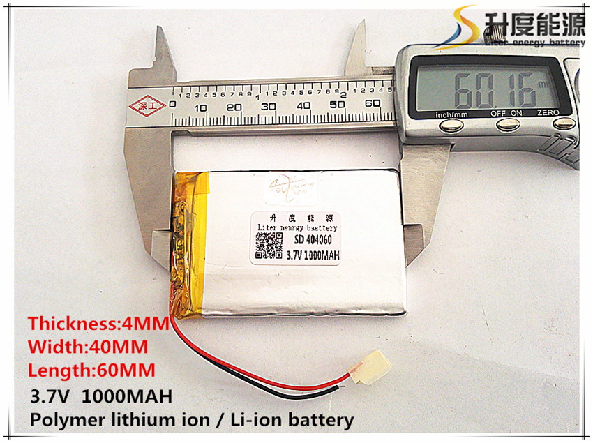 100% True 2pcs Polymer Lithium Ion / Li-ion Battery For Toy,power Bank,gps,mp3,mp4,cell Phone,speaker sd 3.7v,1000mah, 404060
