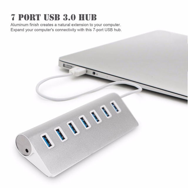 hot-USB 3.0 Hub 7-Port Portable Aluminum charging and Data Hub 3-Foot USB 3.0 Cable (Silver) 2