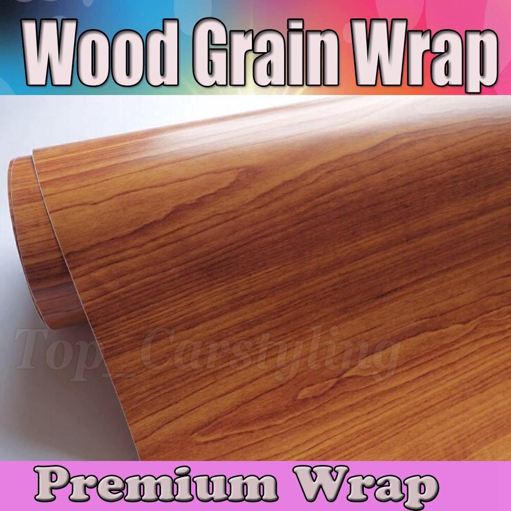 Legno Grain de bois texturé vinyle Wrap pellicola peau de voiture style teck Grain de bois avec bulle d'air taille libre 1.52x20 m/Roll