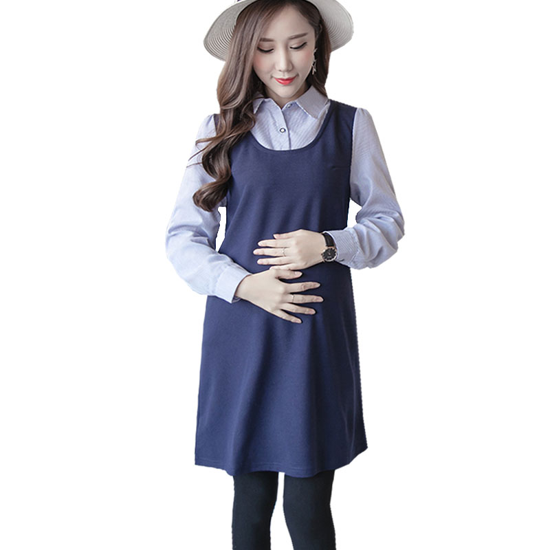 Cotton Pregnancy Dress Clothes For Pregnant Women Maternity Dresses Fake Two Piece Loose Dresses Casual Gravida Mother Wear