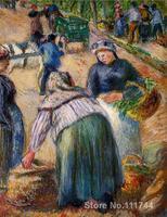 Potato Market Boulevard des Fosses Pontoise Camille Pissarro paintings for sale Landscape art Handmade High quality