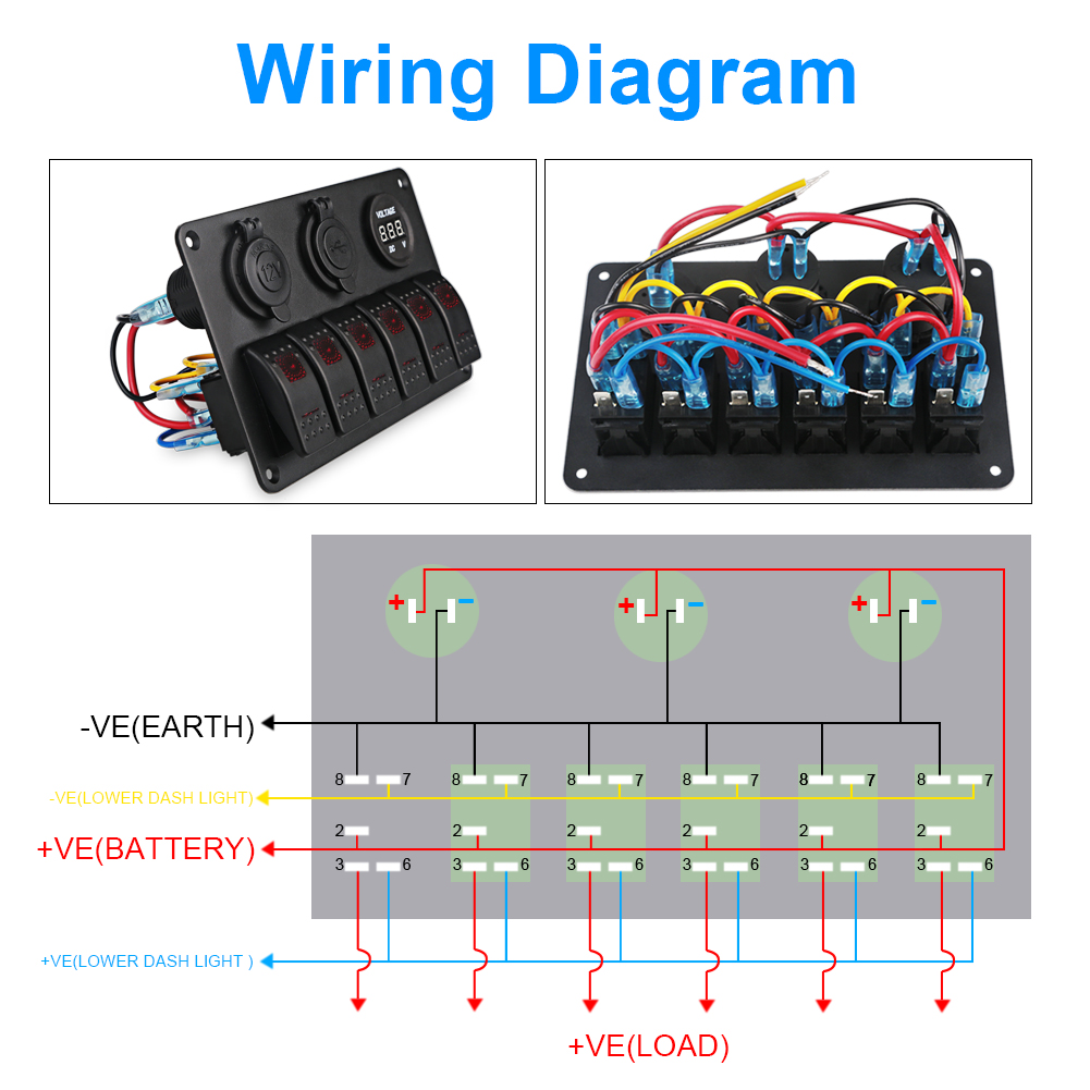 Yacht Boat Marine Rocker Switch Panel Circuit Breaker Led Dual Usb Double 12v Wiring Diagram Short Overheat Protectionbuilt In Overload Protection Suitable For Most Dc 24v Cars Atv Trucks Trailer Rv Caravan Bus