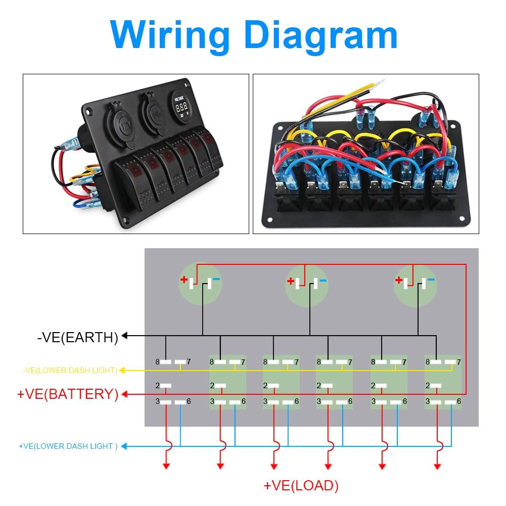 medium resolution of yacht boat marine rocker switch panel circuit breaker led dual usb car charger voltmeter cigarette lighter