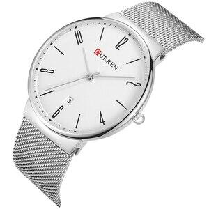 Image 4 - CURREN New Mens Quartz Relogio Masculinos Dial Clock Ultra thin Male Wrist Watch Calendar Waterproof Business Steel Watches