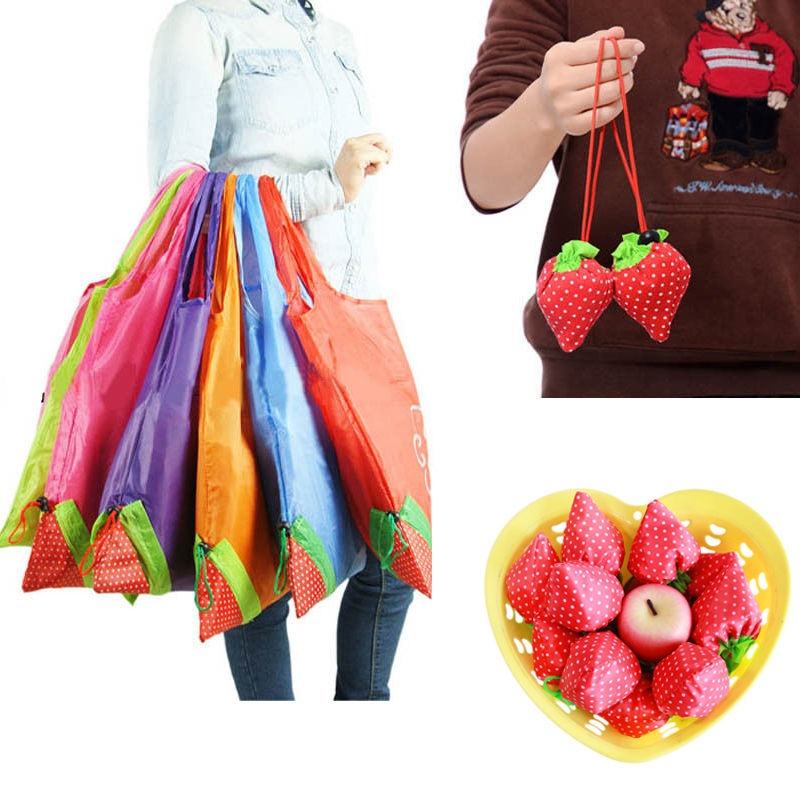Printing Strawberry Foldable Reusable Shopping Bag Nylon Green Grocery Bag Tote Convenient Large Capacity Storage Bags