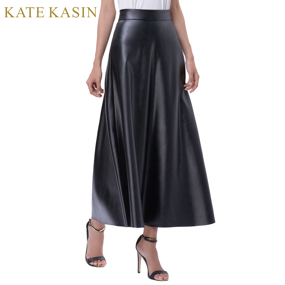 Kate Kasin 2017 Sping Summer Hot Sale New Arrivals Womens High Waist Synthetic Leather 38 Flared A Line Skirt Freeshipping