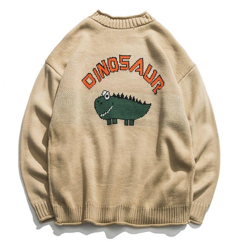 Zogaa Dinosaur Lovely Sweater Men 2019 Winter Pullover Men Sweaters Oversize Boy Student Sweater Slim Fit Pullover Men Knitwear