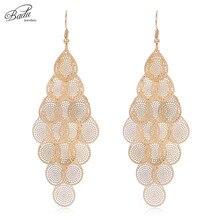 Badu Golden Filigree Tassel Earrings Geometric Big Statement Jewelry Dangle Drop Earring Women Fashion Wholesale