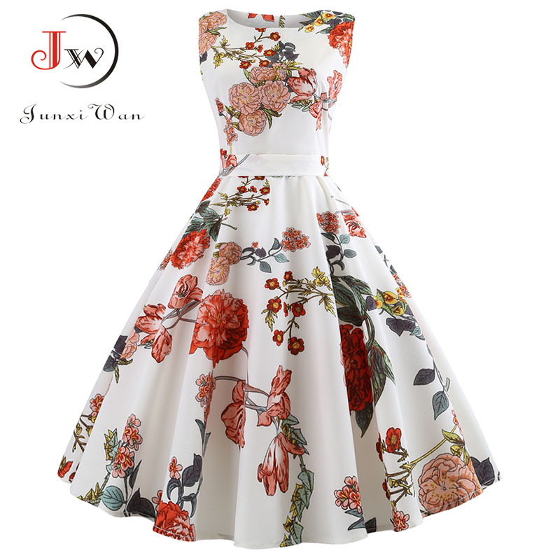 Summer Women Dress Plus Size Casual Midi Work Office Party Sundres Sleeveless Floral Print Elegant Vintage Pin Up Dresses Jurken