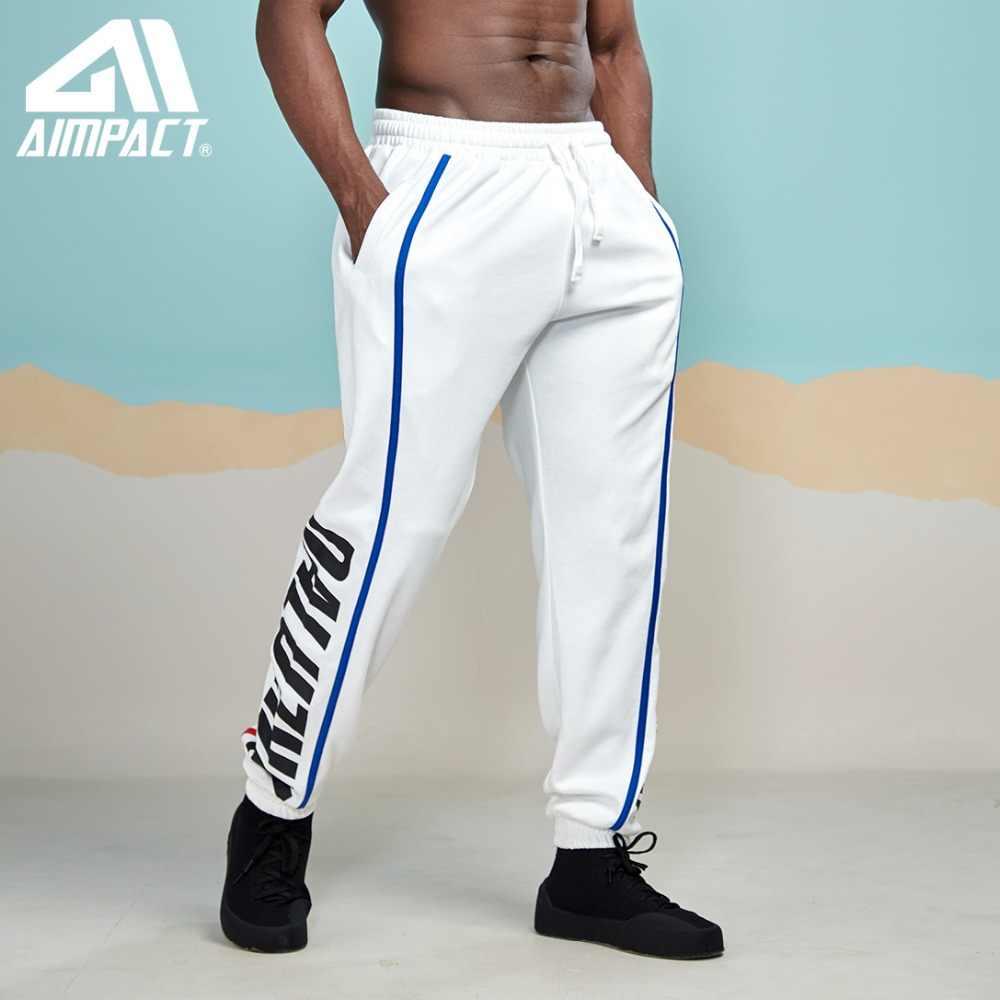 Aimpact 2019 Baru High Street Pinggang Elastis Celana Olahraga Pria Celana Sisi Garis Huruf Mengikuti Celana Merek Celana AM5055