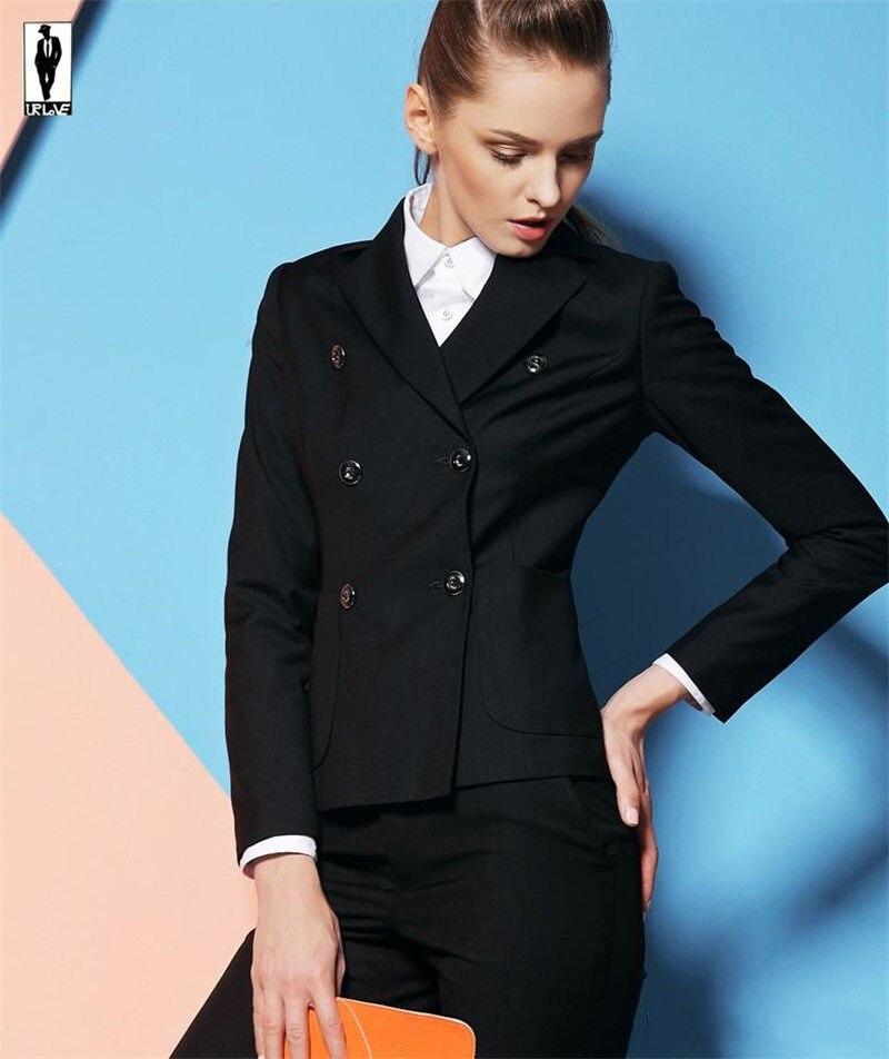 New Women Business Suits Double Breasted Black Ladies Office Uniform Female Trouser Suit Custom B114
