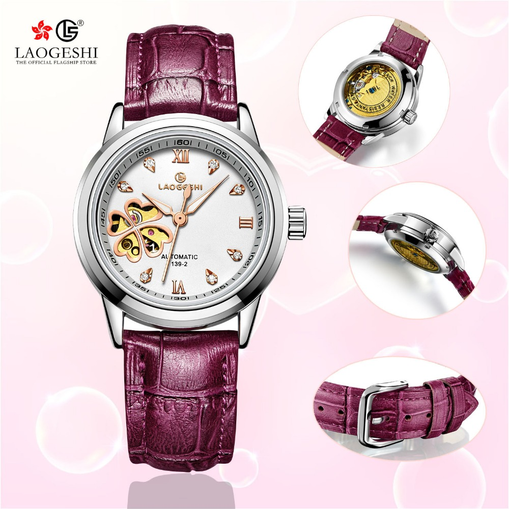 купить kobiet zegarka Automatic Watch women Skeleton Mechanical Leather women Wrist Watches Luminous Waterproof sapphire Clock for Gift по цене 2195.64 рублей
