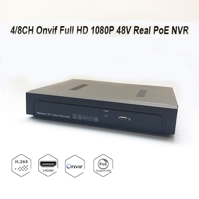 4/8CH Onvif Full HD 1080P 48V Real PoE NVR All-in-one Network Video Recorder for PoE IP Cameras with AEeye P2P Cloud Service
