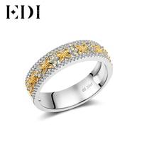 EDI 14K Multi Stone Gold Diamonds Ring Statement Wedding Bands Engagement Rings For Women Fine Jewelry