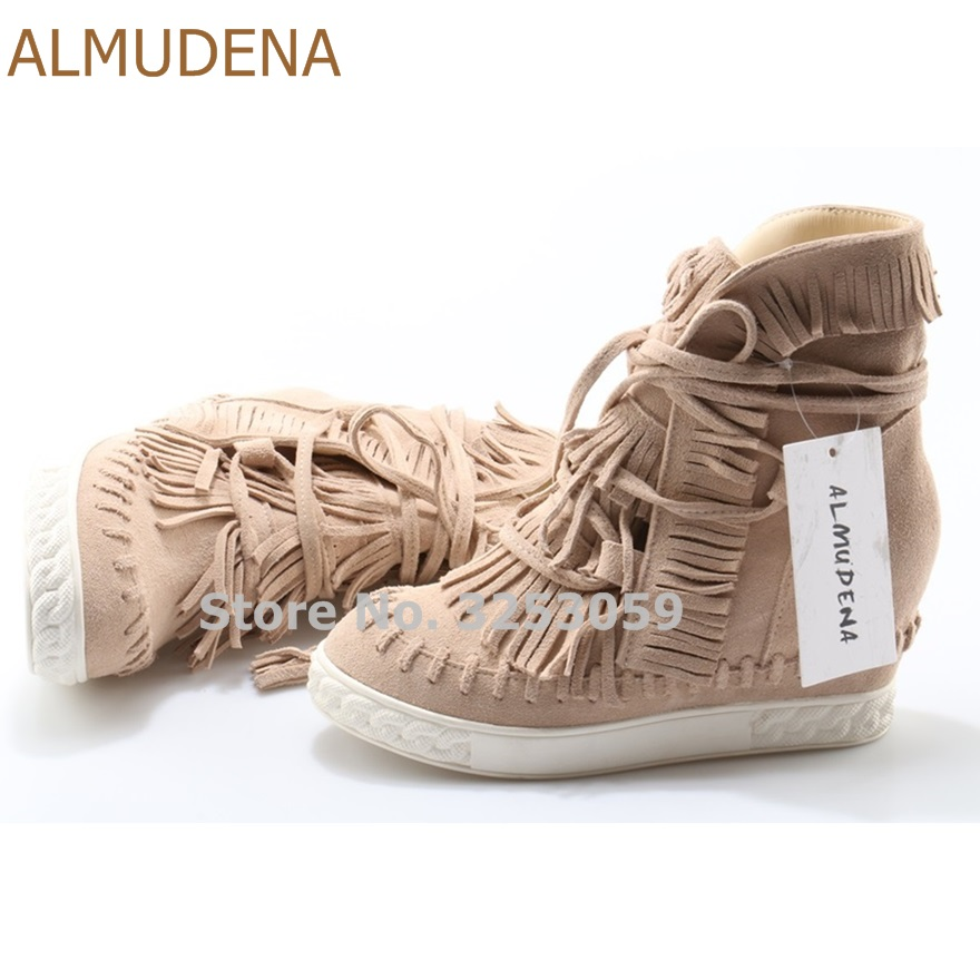 ALMUDENA Beige Red Blue Suede Fringe Sneakers Wedge Heel Height Increasing High Top Lace-up Casual Shoes Tassel Leisure Boots fringe sleeve top