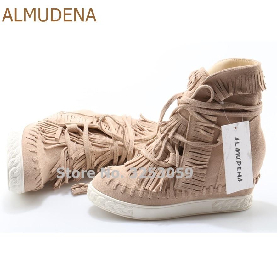 ALMUDENA Beige Red Blue Suede Fringe Sneakers Wedge Heel Height Increasing High Top Lace ...