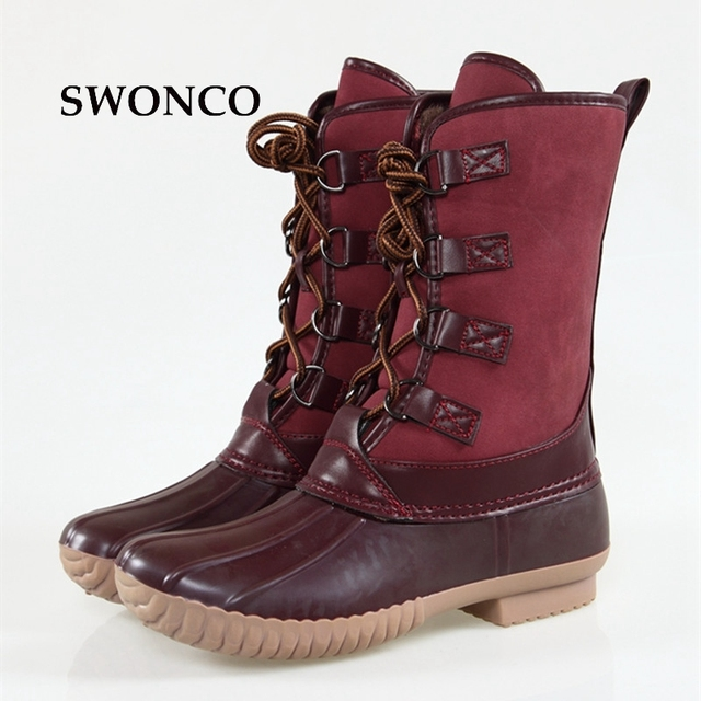 ffa999173e5 US $23.09 19% OFF|SWONCO Women's Wine Red Duck Boots Waterproof Fashion  Rain Boots Warm Outdoor Mid calf Women Boot Autumn Winter Rubber Sole  Shoe-in ...