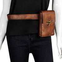 Fanny Pack For Men Women Waist Bag Belt PU Leather Fashion Travel Pouch Packs Gthic Steampunk Wallet Phone Waist Belt Bag