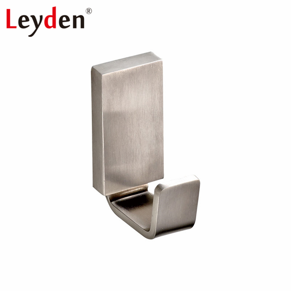 Modern bathroom accessories - Leyden Single Square Clothes Hook Wall Mounted Modern Brushed Nickel Stainless Steel Coat Robe Hook Lavatory Bathroom Accessory
