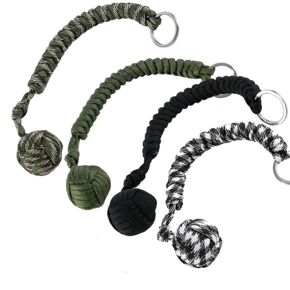 OUTAD Outdoor Survival Steel Ball Rope Key Ring Pendant Wire Keychain Camping Climbing Hiking Self-defense Ball chaveiro