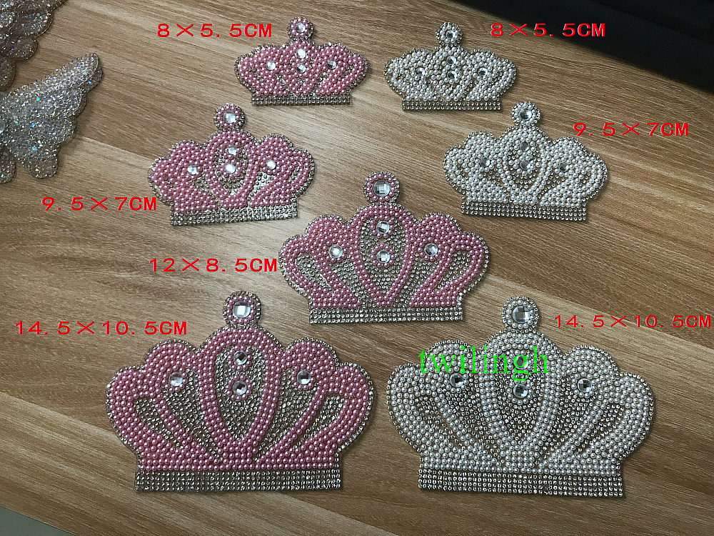 1 Piece Hot Fix Rhinestone Motif Children Baby Suit Crystal iron Crown Glass Patch Applique For Baby Clothes Rhinestone Patches in Rhinestones from Home Garden