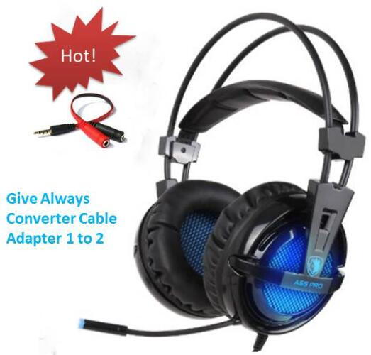 SADES A55 pro Gaming headset headband 3.5mm wired vibration headphone stereo volume control LED light with Mic for computer game