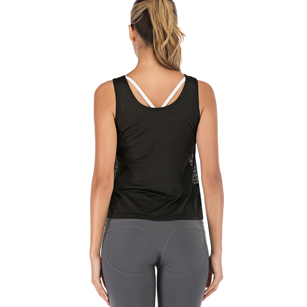 Women/'s Workout Yoga Vests Mesh Dri Fit Sports Running Jogging Tank Top Backless
