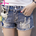 Hot Sale 2017 Summer Blue Denim Shorts Women 3D Cartoon Sequin Short Jeans Female Plus Size Jeans Shorts Feminino With Hole