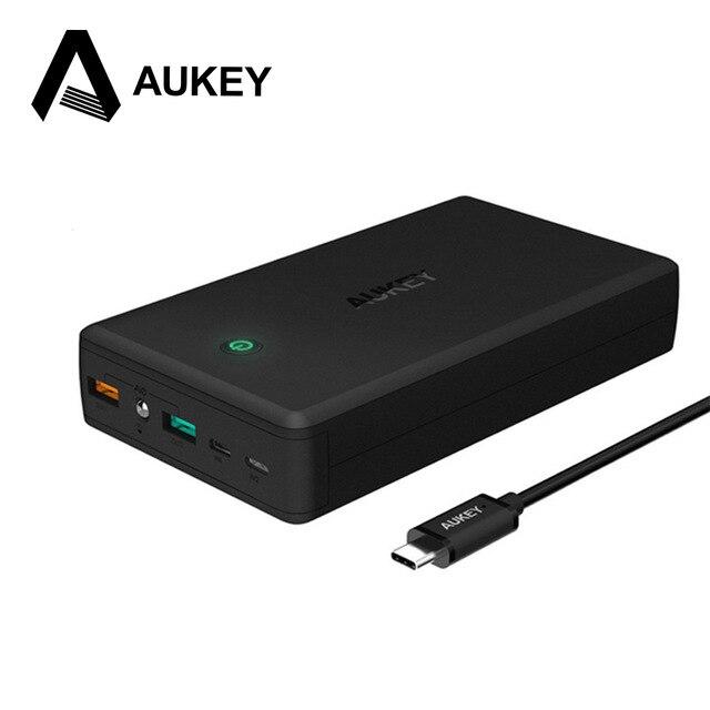 Aukey 30000 mah banco portable de batería dual de salida/entrada de cargador de