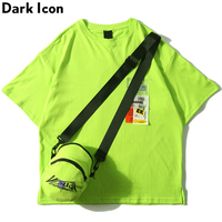 Dark Icon Side Split Fluorescent Green T shirt with Messenger Bag Hiphop Tshirt Men Cotton Tee Shirts Streetwear Clothing