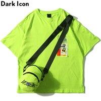 Dark Icon Side Split Fluorescent Green T shirt with Messenger Bag Hiphop Tshirt Men Cotton Tee Shirts Streetwear Clothing