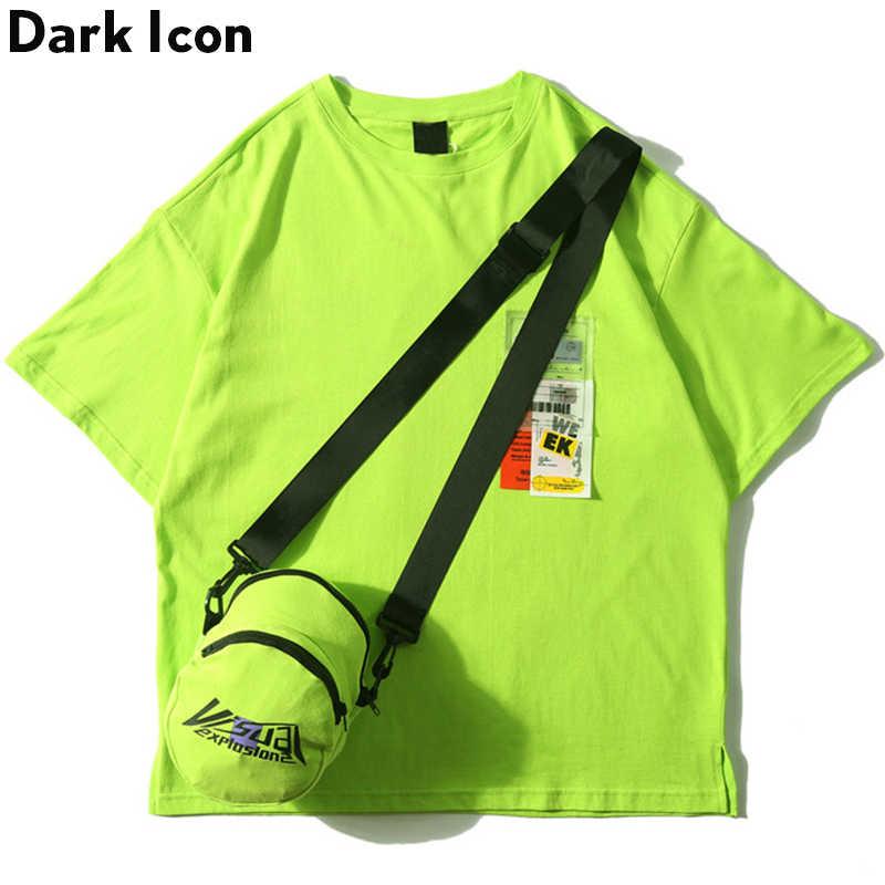 כהה סמל צד פיצול ניאון ירוק חולצה עם שליח תיק Hiphop חולצת טי גברים כותנה טי חולצות Streetwear בגדים